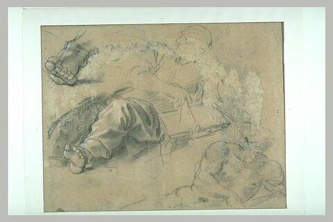 Etudes pour un homme allongé, usant d'un compas sur un livre