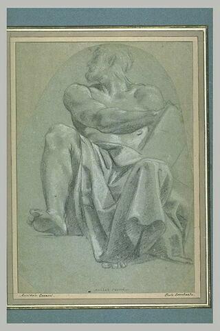 Prophète assis, vu de face, la tête de profil à gauche