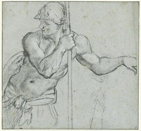 Etude de soldat, appuyé sur sa lance, regardant vers l'arrière
