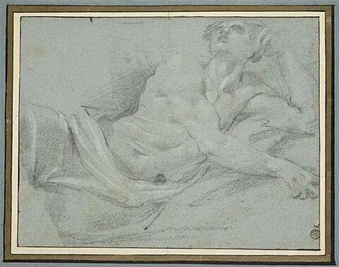 Demi-figure d'homme couché, accoudé sur le bras gauche