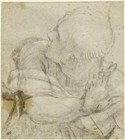 Demi-figure d'homme, paraissant regarder derrière lui avec effroi