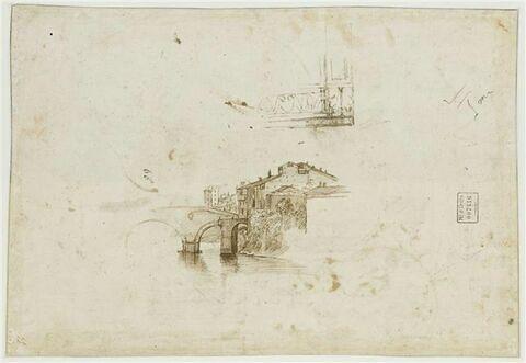 Vue de l'Isola Tiberina, et détail de modénature inachevé