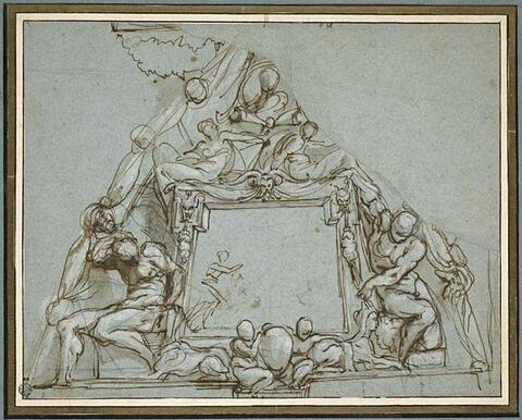 Etude de décoration, avec des personnages entourant un panneau