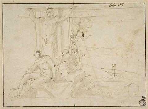 Atlante, avec à ses pieds deux ignudi, entre deux panneaux