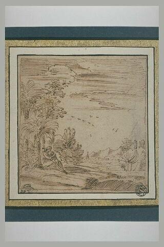 La Vierge avec l'Enfant sous un palmier dans un paysage