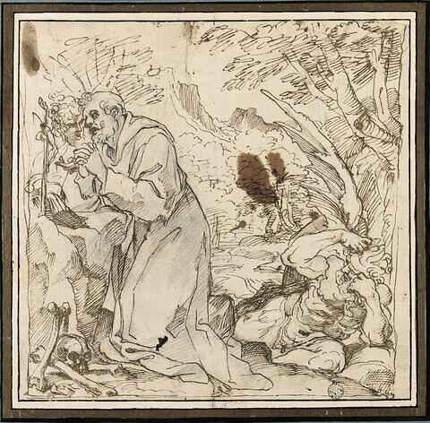 Saint François en prières, tenté par le Démon et consolé par un ange