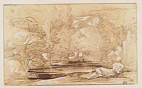 Paysage avec une figure allongée au bord d'une rivière