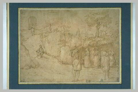 Paysage avec deux hommes saluant sept femmes