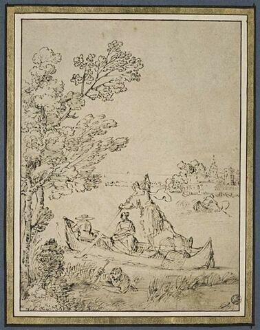 Deux hommes et une femme dans une barque avec un pêcheur au premier plan