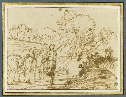 Paysage avec un bouvier conduisant un troupeau de boeufs