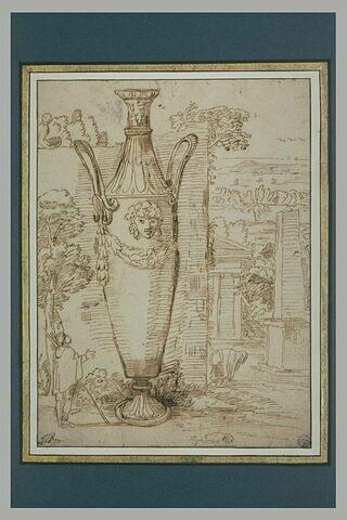 Paysage avec un vase colossal examiné par un homme