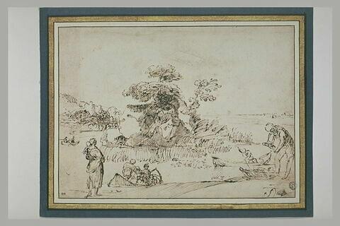Pêcheurs près d'une île rocheuse