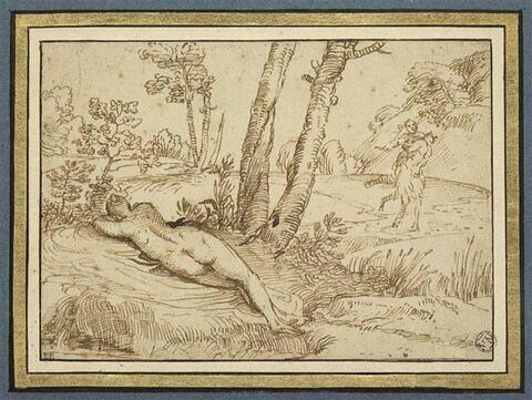 Paysage avec nymphe endormie et satyre enlevant une nymphe