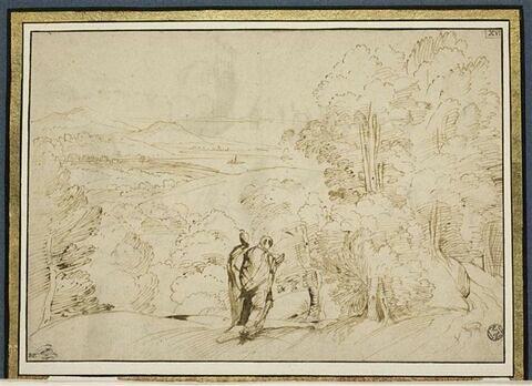 Paysage panoramique avec deux figures drapées au premier plan