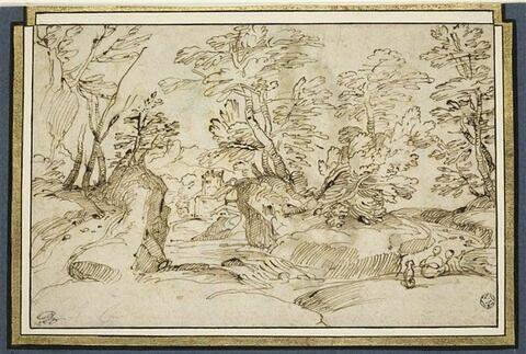 Deux figures avec un chien assis dans un paysage