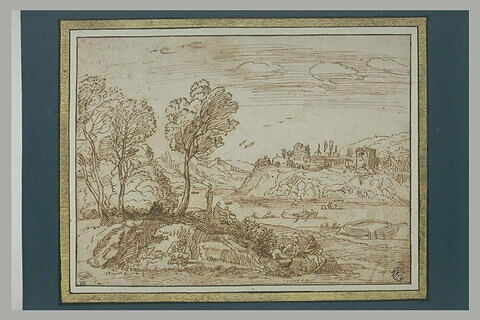 Paysage avec des baigneurs et un château sur une colline