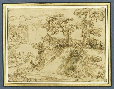 Paysage avec des voyageurs sur un sentier