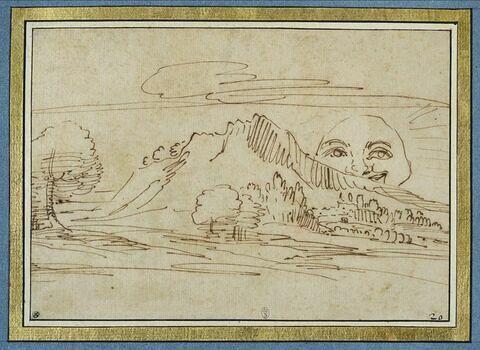 Derrière une montagne, le soleil sous la forme d'un masque souriant