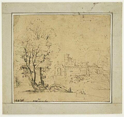 Paysage avec un bosquet d'arbres et une cité fortifiée