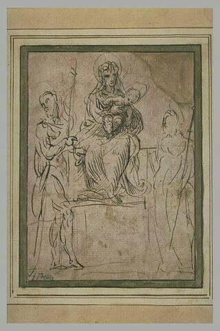 La Vierge à l'Enfant adorée par saint Jean-Baptiste et un autre saint