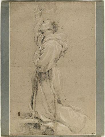 Saint François à genoux, le bras droit levé, la main gauche sur la poitrine