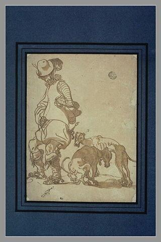 Caricature d'un spadassin suivi de deux chiens