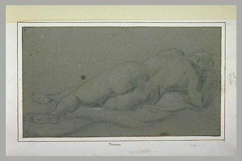 Etude d'une femme nue, allongée, vue de dos