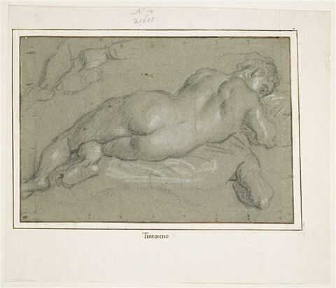 Etude d'une femme nue, allongée, vue de dos, et reprise des pieds et du bras