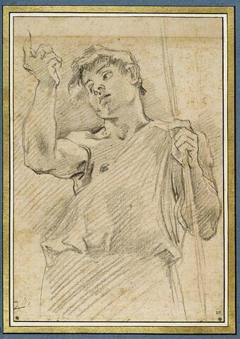 Demi-figure d'un adolescent, debout, bras droit levé : saint Jean-Baptiste ?