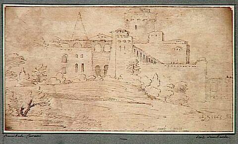 Paysage avec une porte fortifiée et la pyramide de Caius Sestius