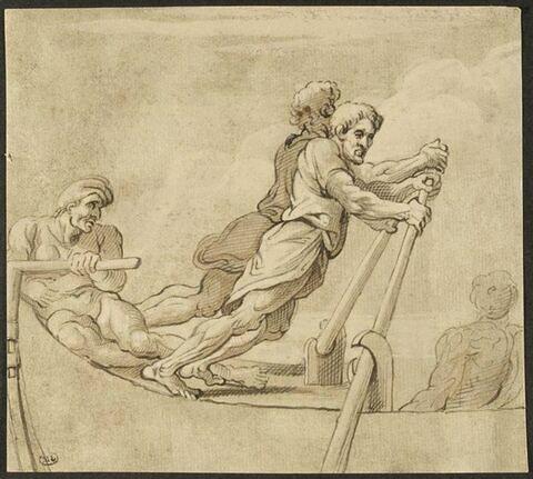 Deux rameurs, un pilote et une figure assise, de dos, dans une barque