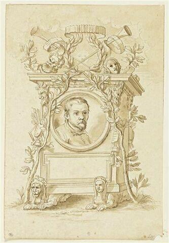 Titre d'ouvrage orné du portrait d'Annibale Carracci