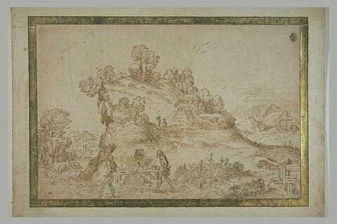 Paysage avec deux hommes portant un cadavre et une femme désespérée
