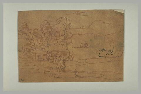 Paysage avec deux cavaliers, des figures en barque, et une ferme