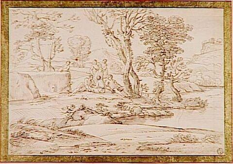 Paysage avec figures au bord d'un cours d'eau