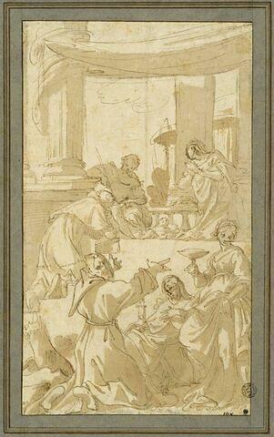 Sainte Famille adorée par des saints