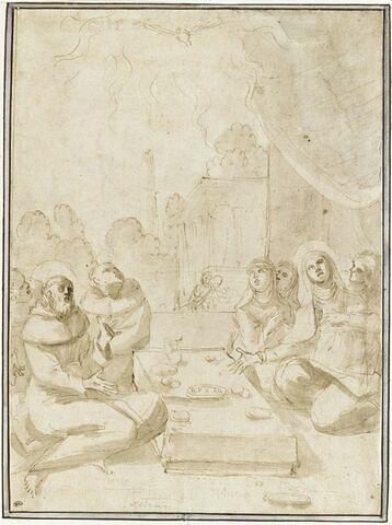 La colombe du Saint Esprit apparaissant à saint François et sainte Claire