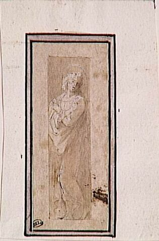 Saint Jean debout, les bras croisés sur la poitrine