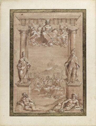 Allégorie sur la fondation de l'université de Bologne entre Clément VII et Charles Quint