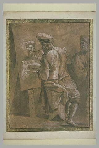 Un peintre faisant le portrait d'un homme barbu
