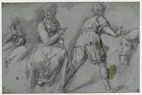Femme assise ; un homme de dos, marchant ; études de détails