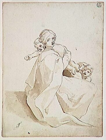 Femme assise avec deux enfants
