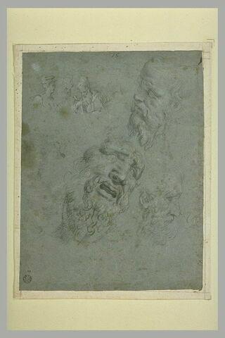 Trois études de têtes ; trois petites figures en buste, conversant