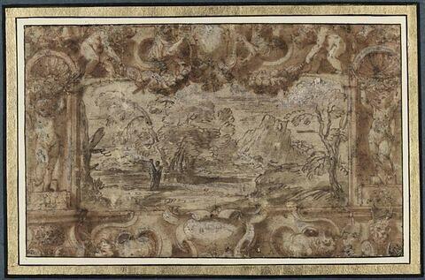 Encadrement décoratif avec putti et armoiries encadrant un paysage