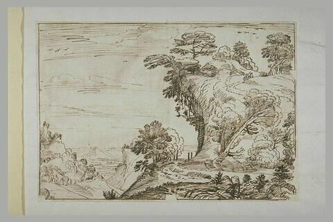 Figures sur un chemin, dans un paysage escarpé et boisé