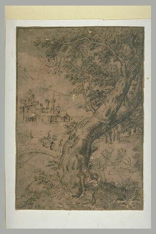 Paysage avec un gros arbre tortueux, des figures et des bâtiments au loin