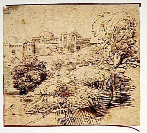 Château fortifié dans un paysage