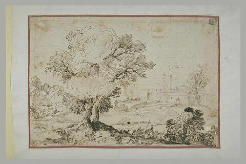 Paysage boisé avec une citadelle, une barque et deux pêcheurs