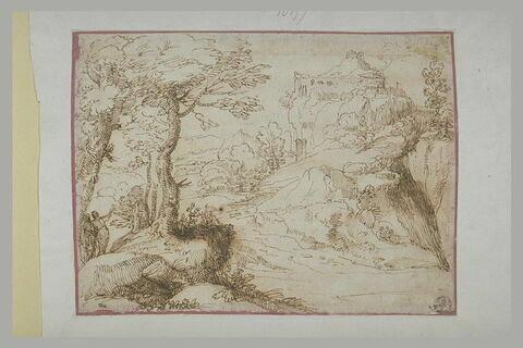 Paysage avec des promeneurs et un château sur une falaise