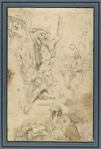 Ezechiel réveillé par la trompette de l'ange ; homme avec un livre
